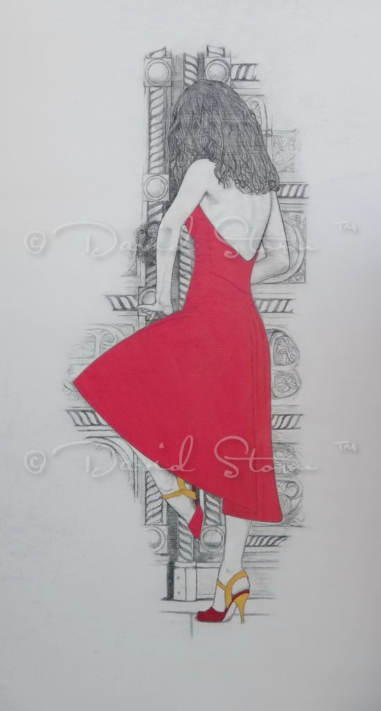 Red dress was inspired by a beautiful dancer I had the pleasure of photographing while in Sofia Bulgaria. Pencil and acrylic on Canvas. Approx. 139 cm x 74.5 cm